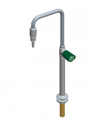 Collo di cigno con rubinetto destro beccuccio ottone fisso - con antisifone e fissaggio antirotazione
