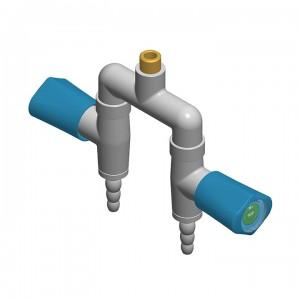 Doppio rubinetto a caduta - distribuzione a u-manopole laterali