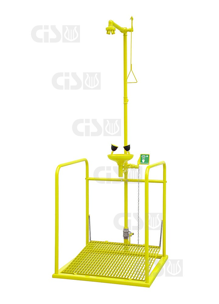 Emergency Shower With Platform And Eye Washer Separate
